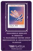 """TESSERA FILATELICA - ITALIA - ANNO 1999 - FRANCOBOLLO DEDICAT AL PROGETTO """" FRANCOBOLLO NOSTRO AMICO"""" - 3 TESSERE - - 6. 1946-.. Repubblica"""