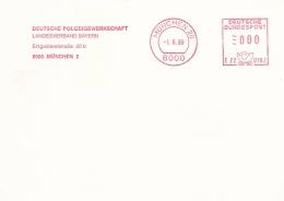 Germany Card W/Machine Cancel München 1989 Deutsche Polizeigewerkschaft Landesverband Bayern  (SKO14-11C) - Police - Gendarmerie