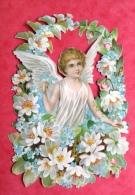 Prix Fixe Superbe Chromo Decoupis Ange Angelot Fleurs 12cm16cm - Anges