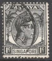 Singapore. 1948-52 KGVI P14. 1c Used. SG 1 - Singapore (...-1959)
