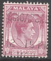 Singapore. 1948-52 KGVI P14. 10c Used. SG 7 - Singapore (...-1959)