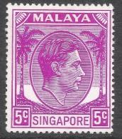Singapore. 1948-52 KGVI P17½X18. 5c MH. SG 19a - Singapore (...-1959)