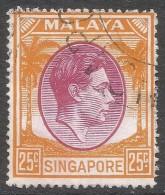 Singapore. 1948-52 KGVI P17½X18. 25c Used. SG 25 - Singapore (...-1959)