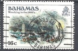 BAHAMAS     -  1980 History Of The Bahamas   WRECKING IN THE 1800'    USED   Lighthouses | Paintings | Sea | Ships - Bahamas (1973-...)