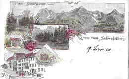 GRUSS VOM SCHWEFELBERG → Mehrbild-Lithokarte Anno 1905 - BE Berne