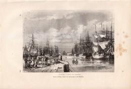 1877 - Gravure Sur Bois - Le Havre (Seine-Maritime) - Le Bassin Du Commerce - FRANCO DE PORT - Estampes & Gravures