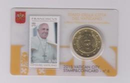 Coin Vatican City - Vaticaan - Vaticano 0.50 Euro 2015 UNC Stamp & Coin Card Nr. 6 Pope Franciscus - Vaticaanstad