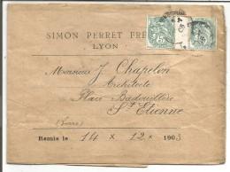 PAIRE BLANC MILLESIMME SUR LETTRE A EN TETE DE LYON 1903 - Marcophilie (Lettres)
