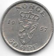 *norway 50 Ore 1957  Km 402  Xf - Norvège