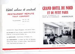 Depliant Hotel  Du Nord  Petit Paris  Cachet Perpignan Centenaire Castillet + Menu - Poststempel (Briefe)