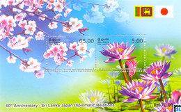 Sri Lanka Stamps 2013, Japan, Flowers, Nil Manel, Sakura, Blue Water Lily, Cherry Blossom, MS - Sri Lanka (Ceylon) (1948-...)