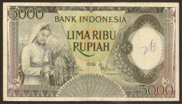 INDONESIA. 5000 Rupiah 1958. Pick 63. - Indonesia