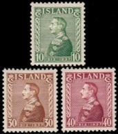 ~~~  Iceland Islande 1937 - Christian X -  Mi. 187/189 * MH ~~~ - Nuovi