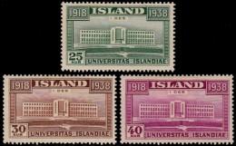 ~~~  Iceland Islande 1938 - Universitas Islandiae -  Mi. 200/202 * MH CV 30.00 € ~~~ - Nuovi