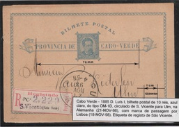Cabo Verde Old Stationary Card To Germany - Kapverdische Inseln