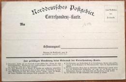 16594# ALLEMAGNE NORDDEUTSCHES POSTGEBIET CORRESPONDENZ KARTE CONFEDERATION ALLEMAGNE NORD CARTE POSTALE NEUVE - Norddeutscher Postbezirk