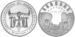 AC -  HATTUSA - LION GATE ANCIENT CITIES SERIES No#9 COMMEMORATIVE SILVER COIN TURKEY, 2015 PROOF - UNCIRCULATED - Turchia
