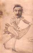 00 - CARTE PHOTO - DESSIN D'un TAUREAU Et D'un TORERO Avec La Photo D'un Visage D'homme à Moustache - Corrida