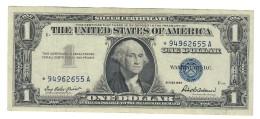 Usa 1 $ 1957  Bollino Blu Circulated Serie Sostitutiva Asterisco LOTTO 1529 - Small Size -Taglia Piccola (1928-...)