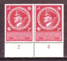 DEUTSCHES REICH GERMANY GERMANIA 1944   55° HITLERS  GEBURTSTAG  PAAR  Mi.887 MNH** - Germany