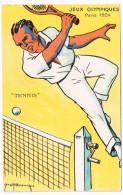 JEUX OLYMPIQUES 1924 Paris - Tennis - Artist Signed - Giochi Olimpici