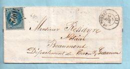 Isère - N° 29 : G.C. 4002 Du Touvet + Cachet Type 15 Du 08/09/1868. (37984) - Marcophilie (Lettres)