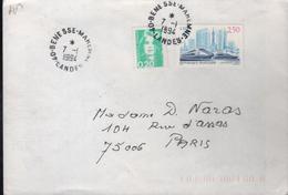 """Lettre Cachet Manuel 40-Benesse-Maremne 7-1 I994 """" Sans Le Cercle En Continu Et étoile à La Place De L'heure - Abarten Und Kuriositäten"""