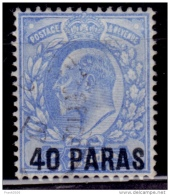 British Offices Abroad, Turkish Empire 1902, 40pa On 2 1/2d Surcharge, Scott# 8, Used - Great Britain (former Colonies & Protectorates)