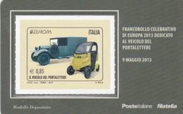 2013 - ITALIA -  TESSERA FILATELICA  EUROPA 2013 DEDICATO AL VEICOLO DEL PORTALETTERE - 1946-.. République
