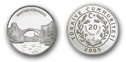 AC - MOSTAR BRIDGE STARI MOST COMMEMORATIVE SILVER COIN PROOF UNCIRCULATED TURKEY 2005 - Turquia