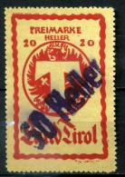 ULTRA RARE 50 HELLER OVERPRINT 20 TIROL PREIMARKE POSTER STAMP AUSTRIA SUPERB STAMP TIMBRE USED - Unused Stamps