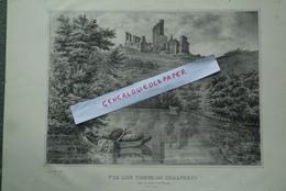 87 - VUE DES TOURS DE CHALUSSET -CHALUCET- PRISE DES BORDS DE LA BRIANCE- TRES BELLE LITHOGRAPHIE TRIPON XIXE -CHATEAU - Litografía