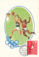 D26498 CARTE MAXIMUM CARD 1960 SAN MARINO - BASKETBALL OLYMPICS ROME - IMPERFORATED STAMP CP ORIGINAL