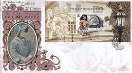 (92569) Tuvalu Benham FDC Queen Mother Century Minisheet 16 August 1999