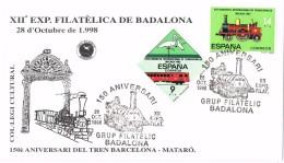 19668. Carta Exposicion BADALONA (Barcelona) 1998. Ferrocarril, 150 Aniversario - 1981-90 Cartas
