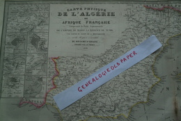 CARTE ALGERIE AFRIQUE FRANCAISE-EMPIRE MAROC-REGENCE TUNIS-TUNISIE- ESPAGNE-1850- PAR FREMIN-GIBRALTAR-MARIE BERNARD - Cartes Géographiques