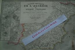 CARTE ALGERIE AFRIQUE FRANCAISE-EMPIRE MAROC-REGENCE TUNIS-TUNISIE- ESPAGNE-1850- PAR FREMIN-GIBRALTAR-MARIE BERNARD - Geographische Kaarten