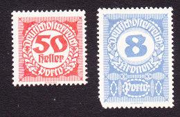 Austria, Scott  #J82, J90, Mint Hinged, Postage Due, Issued 1920 - Taxe