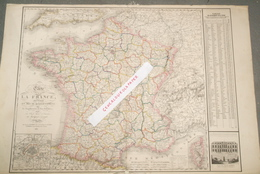 CARTE DE LA FRANCE EN 86 DEPARTEMENTS- HERISSON GEOGRAPHE PARIS-1850- FOURMAGE -PALAIS DE L' ELYSEE PRESIDENT REPUBLIQUE - Cartes Géographiques