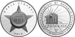 AC - PEACE SUMMIT - 100th ANNIVERSARY OF GALLIPOLI COMMEMORATIVE SILVER COIN TURKEY 2015 PROOF UNC - Turchia