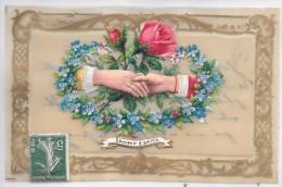 CARTE EN CELLULOID - Souvenir D'amitié - Fleurs - Fantaisies