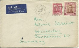 1949  Air Mail Letter From Auckland To Wiesbaden, Germany - Cartas