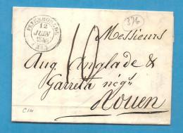 Landes - Peyrehorade Pour Rouen (Seine Inférieure). CàD Type 14 + Taxe 10 - Marcophilie (Lettres)