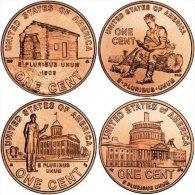 Cent Cents Dollaro 2009 Philadelphia Lincoln Bicentenaire USA 4 Monete Serie Bicentenario - 1959-…: Lincoln, Memorial Reverse