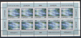 Lettonia 2001 Unif. 522 Minifoglio Di 10 **/MNH VF - Lettonie