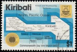 KIRIBATI - Scott #421 Commonwealth Day,  Map (*) / Used Stamp - Kiribati (1979-...)