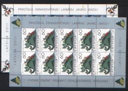 Lettonia 2011 Unif. 830/31 Minifoglio Di 10 **/MNH VF - Lettonie