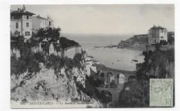 (RECTO / VERSO) MONTE CARLO - N° 122 - LE RAVIN DE SAINTE DEVOTE - BEAU CACHET ET TIMBRE DE MONACO -CPA - Monte-Carlo