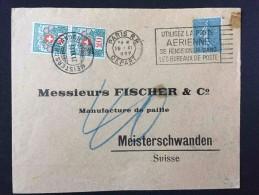 SUISSE MEISTERSCHWANDEN 1929 Sur Timbres Taxes, Lettre De France Pour Manufacture De Paille En Suisse - Frankreich