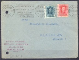 SEVILLA , 1928 , SOBRE CIRCULADO A MUNICH , AGENCIA COMERCIAL HISPANO - ALEMANA - 1889-1931 Reino: Alfonso XIII